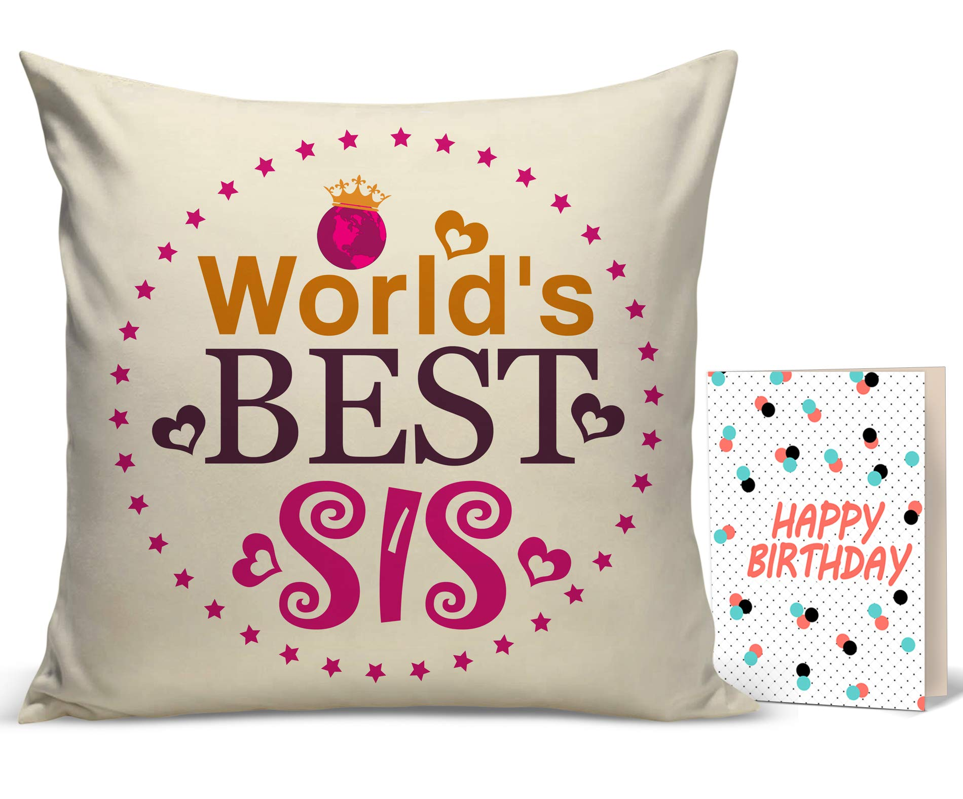 TIED RIBBONS Birthday Gift For Younger Sister Printed Cushion12 Inch X 12