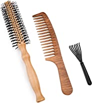 Hair Comb Set, Vaburs Round Wooden Hair Brush Hair Styling Tools Wide Tooth Massage Hair Care