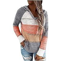 Sweatshirt à Capuche Zippé Femme Pull Chandail Tricoté à Capuche Cardigan Manches Longues Veste d'hiver Automne Rayures…