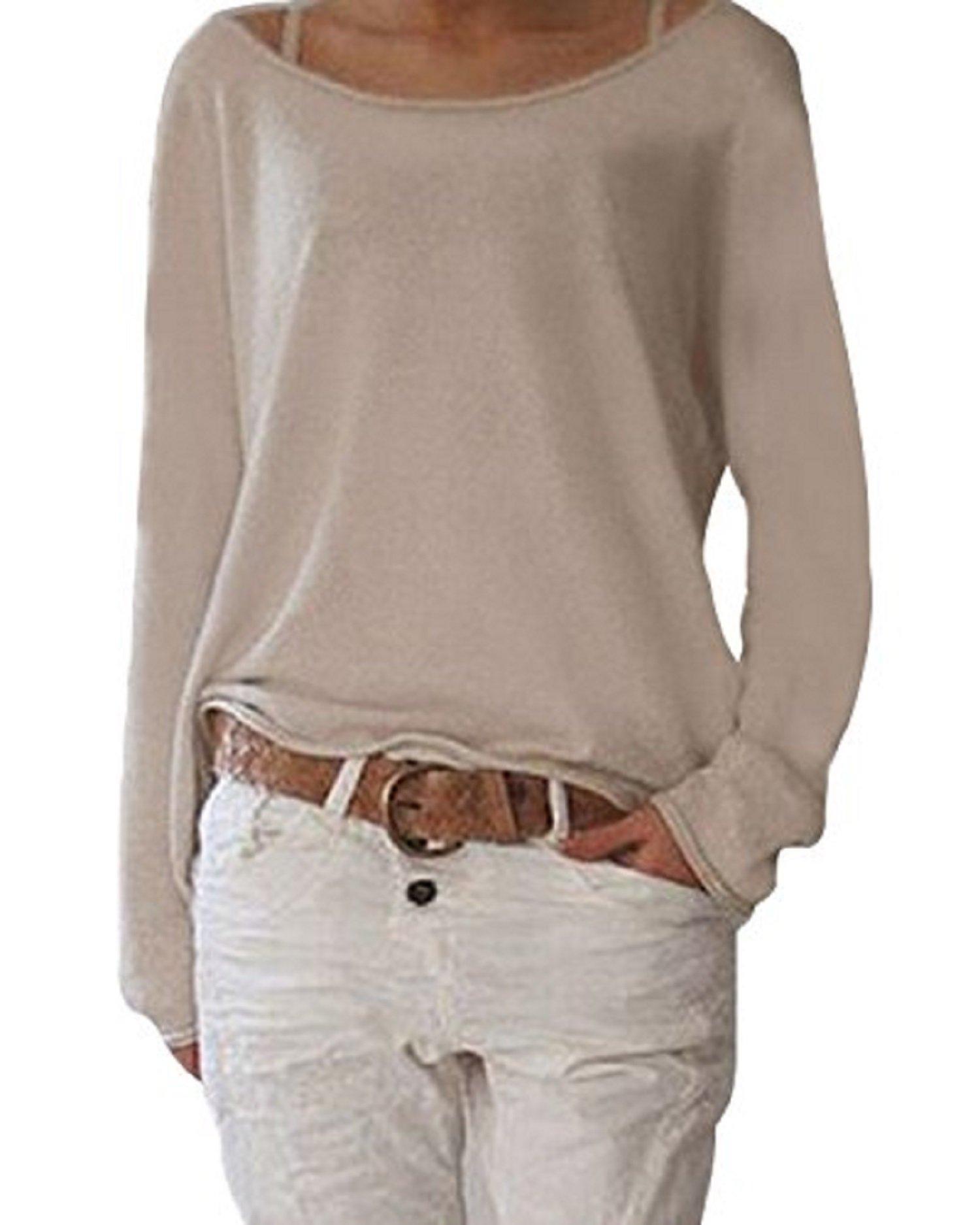 d8b1eab8dc1f91 ZANZEA Damen Langarm Lose Bluse Hemd Shirt Oversize Sweatshirt Oberteil Tops