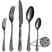 BEWOS 30 pièces ensemble de couverts en acier inoxydable noir mat, ensemble de couverts avec couteau, fourchette…
