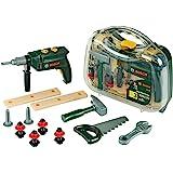 Theo Klein 8416 Maletín de herramientas Bosch, grande, Set de herramientas de 16 piezas, Incluye taladro con luz y sonido a p