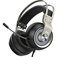 Mpow Gaming Headset EG3 Pro, PS4-Gaming Headset mit 50-mm-Treibern, Stereo-Surround-Sound Headset mit Noise Cancelling-Mikrofon, LED-Licht, Over Ear Gaming Headset für PC / PS4 / Xbox One/Switch