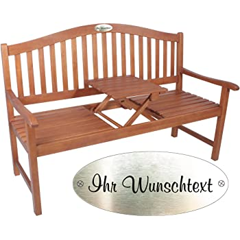 Gartenbank mit Gravur von Ihrem Wunschtext mit Tisch in der Bank Farbe Natur - formschöne personalisierte gravierte Eukalyptus Holzzbank