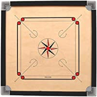 """DishanKart Full Size Wooden Ply Carrom Board with Coins 1 Striker & Carrom Powder Size- 26""""x 26"""" inch (26 Inch Carrom…"""