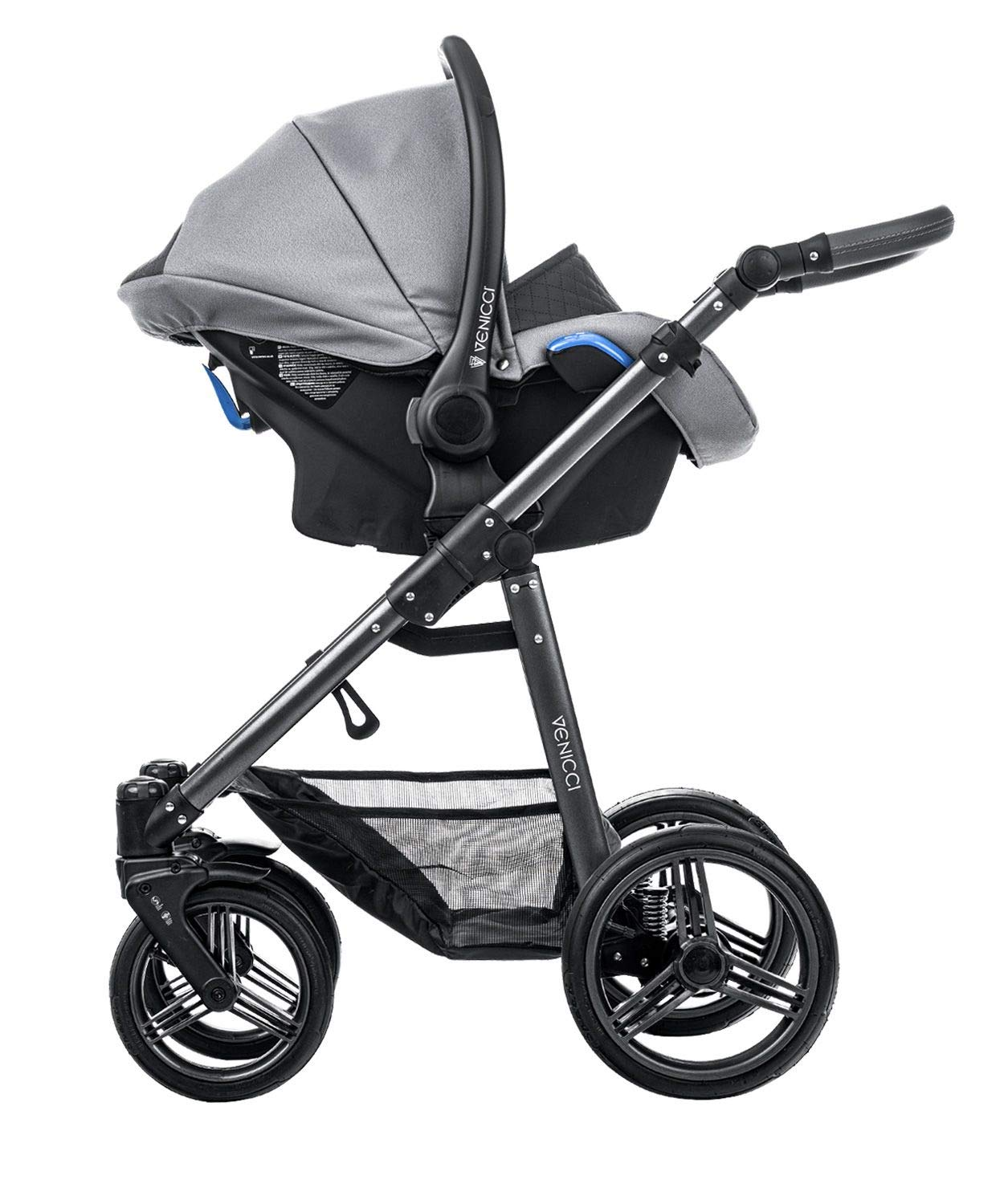Venicci Carbo Lux 3-in-1 Travel System - Natural Grey - with Carrycot + Car Seat + Changing Bag + Apron + Raincover + Mosquito Net + 5-Point Harness and UV 50+ Fabric + Car Seat Adapters + Cup Holder Venicci 3 in 1 Travel System with included Group 0+ Car Seat 5-point harness to enhance the safety of your child Comfortable seat for baby with additional liners 4