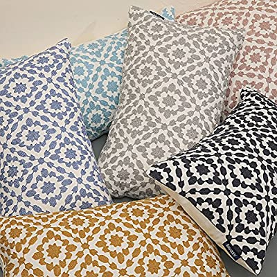 Aitliving Cushion and Cushion Covers Bolster Pillow Cushions Covers Cotton Velvet and Crewel Embroidery Chain Stitch Geometric Embroidered Handmade Cushion Covers Dusk Lilac Silver Grey Sky Blue Slate Blue Yellow Ochre Blue Colours with Different Sizes 30