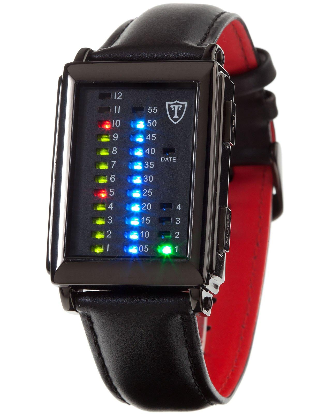 Detomaso Spacy Timeline 1 – Reloj de cuarzo para hombres, con correa de cuero de color negro, esfera negra