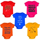 Kiddeo Baby Boy's and Baby Girl's Cotton Bodysuits Pack of 5
