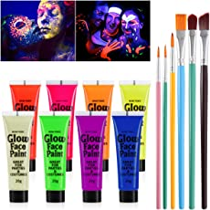 TOYMYTOY UV Glow Blacklight Face and Body Paint 8 Colors Fluorescent Pigment and 6pcs Paint Brushes