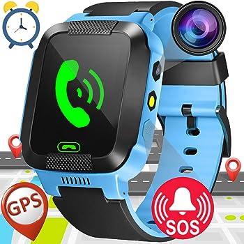 Smartwatch Niños,GPS Tracker Smartwatch Inteligente Relojes para Niños Niñas con cámara de Podómetro con Pantalla Táctil Llamadas SOS Christmas Birthday ...
