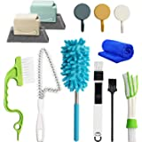 Lot de 12 brosses de nettoyage pour rainures de fenêtre - Outil de nettoyage de trous - Outil de nettoyage pour les stores, l