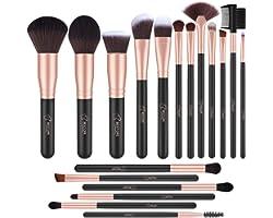 BESTOPE Lot de 18 pinceaux de maquillage professionnels synthétiques de qualité supérieure pour fond de teint, poudre, blush,
