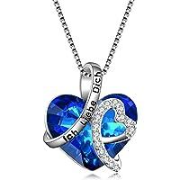 """Kette Herz Sterling Silber""""Ich liebe dich für immer"""" Halskette Damen Anhänger mit Kristall Kristallherz von SWAROVSKI"""