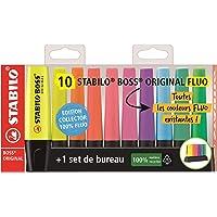 Evidenziatore - STABILO BOSS ORIGINAL Desk-Set - Edizione 100% FLUO - 10 evidenziatori