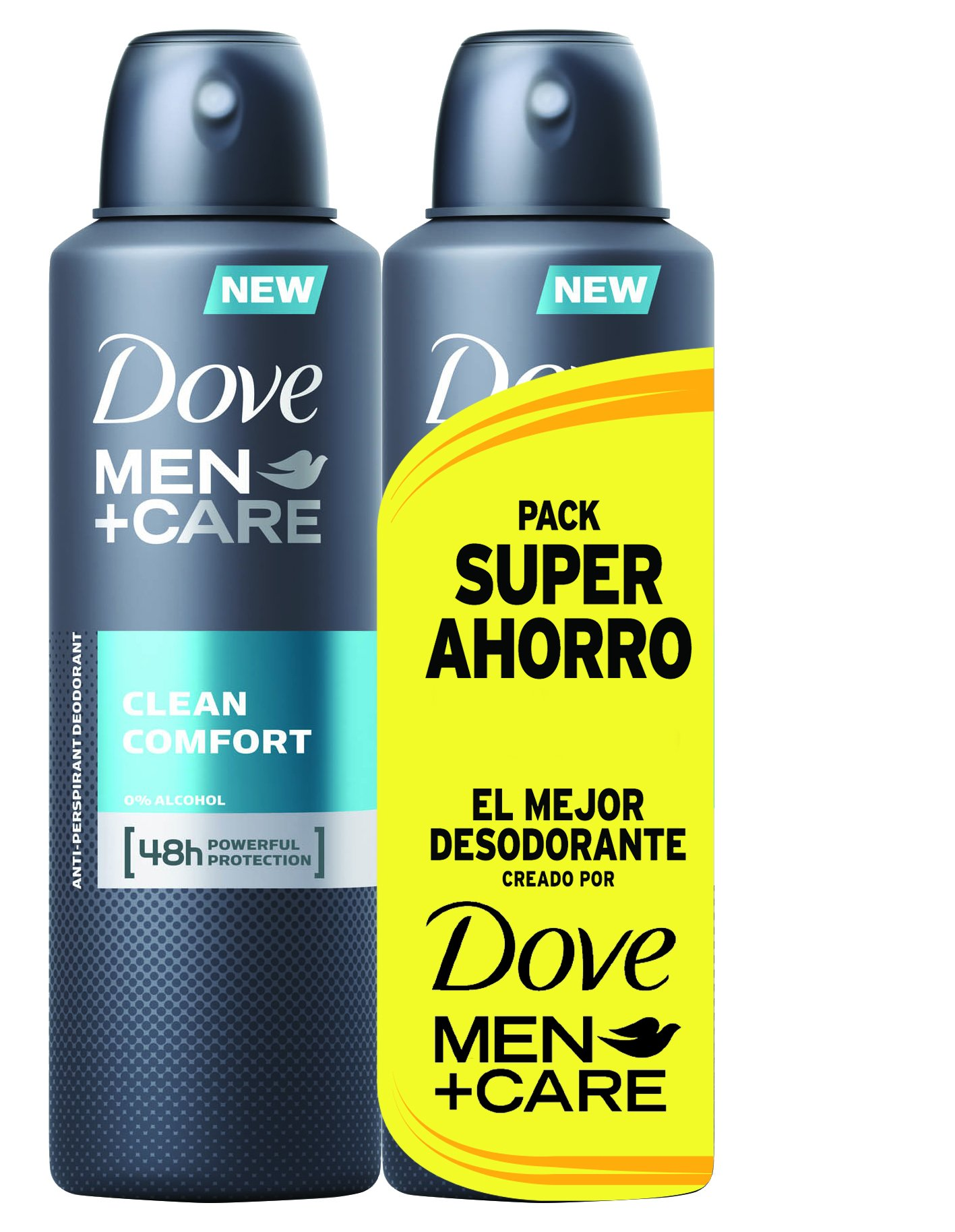 Dove Men Pack Ahorro Desodorante Clean Comfort – 2 Paquetes de 2 x 200 ml – Total: 800 ml