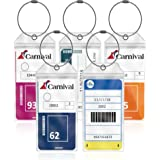 Cruise Luggage Tag Holders Large (5 Pack) Clear Waterproof PVC Tag Holder with Zip Seal & Steel Loops - Travel Vacation Acces