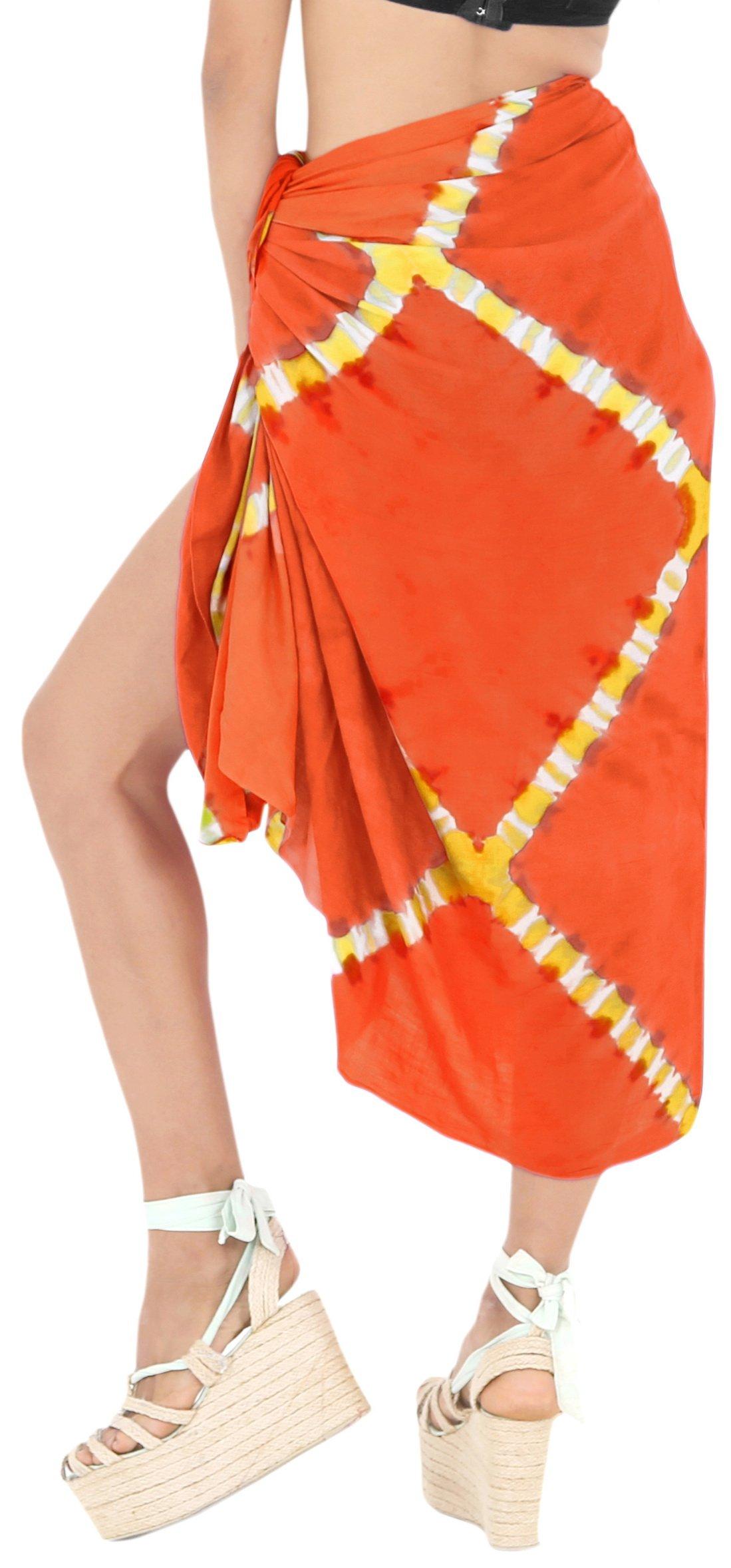 LA LEELA Rayon Costumi da Bagno Involucro Pareo Avvolgere Lungo Sarong Tie Dye 4 spesavip