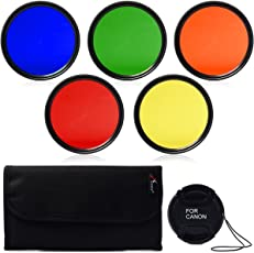 SHOPEE 55mm Filter Set Lens Accessory Kit Blue Yellow Orange Red Green