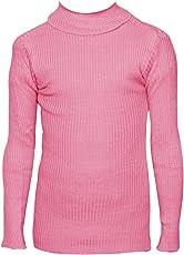 IndiWeaves Girls Pink Wollen Warm High Neck Full Sleeves T-Shirt/Inner/Skivvy For Winter
