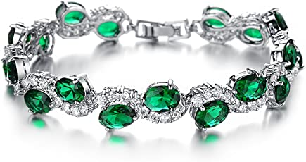 NEVI Rich Royal Zirconia Crystals Platinum Plated Bracelet for Women and Girls. Perfect to Gift!