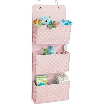 mDesign Portaoggetti bagno da appendere con design a pois – Porta borse con tre tasche – Tasche portagiochi e porta accessori per bimbi in fibra sintetica – rosa/bianco