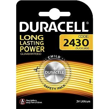 Pila especiales Duracell de botón de litio 2430 de 3 V, paquete de 1 unidades (DL2430/CR2430) diseñada para uso en llaves con sensor magnético, básculas, ...