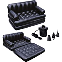 NHR 5 in 1 Inflatable Three Seater Queen Size Sofa Cum Bed with Electronic Pump (193x152x64 cm, Black)