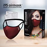 i95 airmask Premium Cotton Cloth Face Mask | Maroon| Two 5 layer Replaceable Activated Carbon Filter | Reusable…