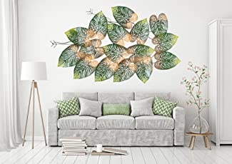 Collectible India Big Beautiful Metal LED Tree Leaf Wall Art Sculpture Wall Decor and Hanging Size (45x28x2 inches)
