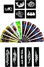 Wonder Care Mehndi Hena Cone with 10 Pieces Stencil Set (Maroon, White and Green)