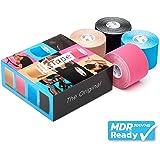 K-Tape® Mixed Box of 4 (4 rouleaux de 5 cm x 5 m chacun) [Beige, Rouge, Bleu, Noir]