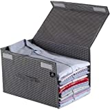 HomeStrap Premium Polyester Shirt Stacker/Wardrobe Organizer with Cover Lid (Pack of 1, Black & White)