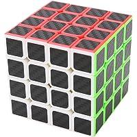 Coolzon Puzzle Cube 4x4x4 Nouveau Cubo Autocollant de Carbone Fibre Ultra Rapide