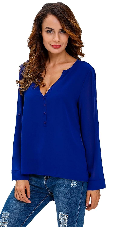 Eozy Women V-Neck Button Detail Dip Back Blouse Top Long Sleeve Shirt:  Amazon.co.uk: Clothing