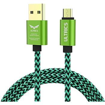 ULTRICS UT-1001-BR2-2M-GRE, Cavo Micro USB, cavo dati di ricarica con guscio metallico, intrecciato in nylon, Verde, 2 m