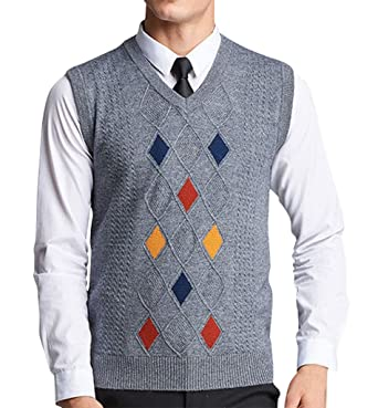 Gillbro Men's Sleeveless Argyle Sweater Vest: Amazon.co.uk: Clothing