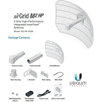 AirGrid M2-HP 20dBi Grid Antenna 2.4GHz CPE 24vdc POE