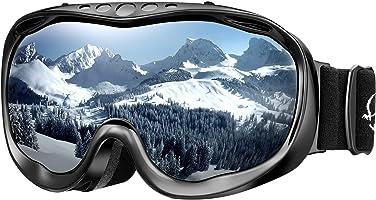 ENKEEO Maschera da Sci, Occhiali da Snowboard Full Frame, Doppia Lente Anti-Nebbia, Anti-graffio e Anti-Vento,100% Protezione UV400, Telaio Curvabile, Ideale per Sport Invernali, Unisex