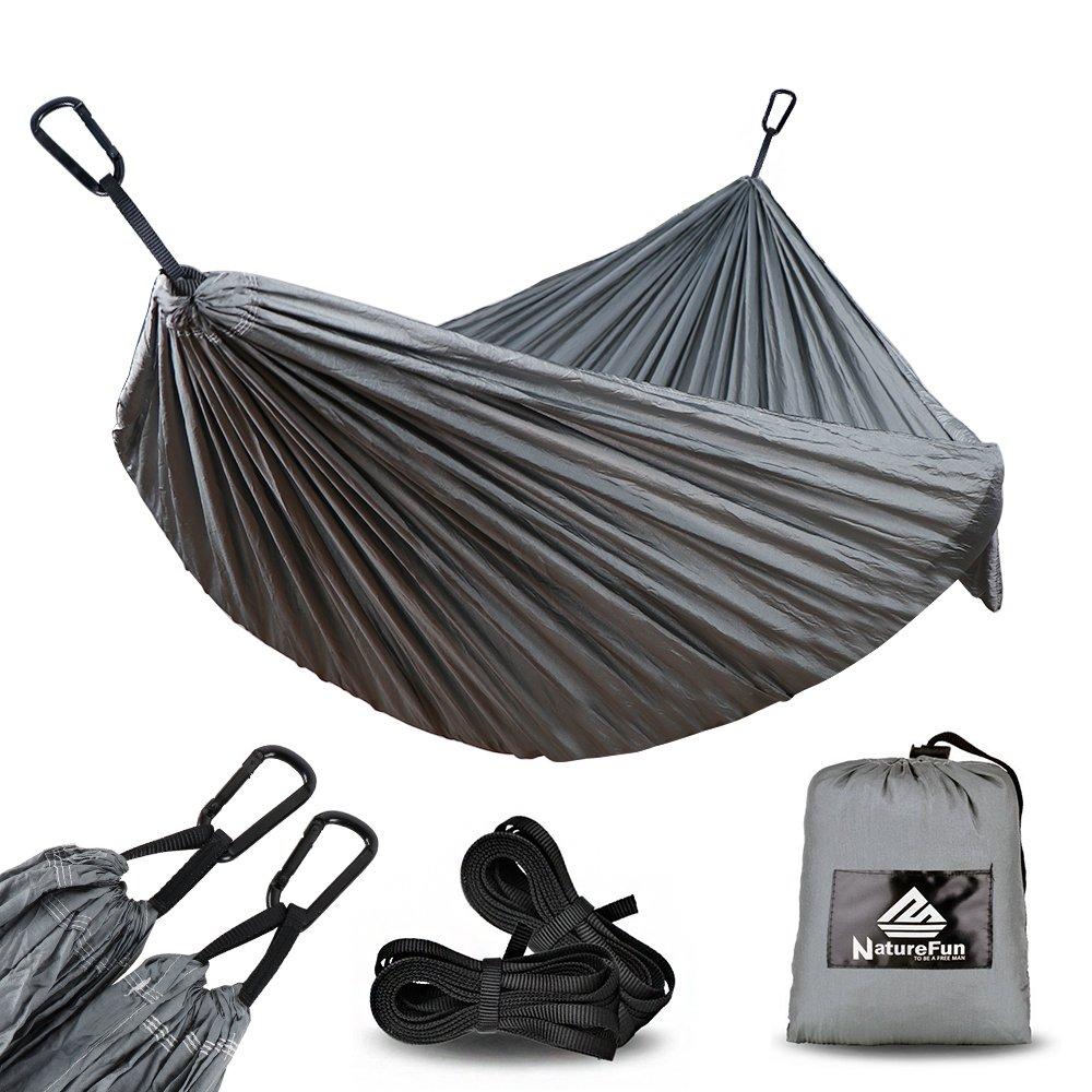 NATUREFUN Hamaca Ultra Ligera para Viaje y Camping | 300kg de Capacidad de Carga, (300 x 140 cm) Transpirable, Nylon de Paraca¨ªdas de Secado R¨pido