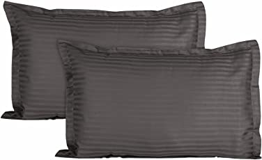 "RRC 300TC Premium Cotton Silken Soft Feel King Size Solid Plain Pillow Covers - Grey - 18""x 27"" - Set of 2"
