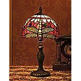 8 pouces de style vintage européen vitrail libellule et perle couleur chaude série lampe de table lampe de bureau lampe de ch