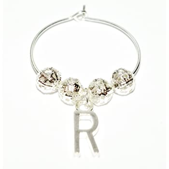 Personalised Silver Plated Wine Glass Charm ~ Letter S Initial Silver Charm ~ Plus FREE GIFT CARD by Just Say Beads ~ from UK Seller choice of designs