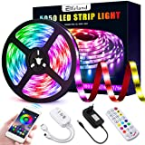 Striscia LED Bleutooth, Elfeland Striscia LED Musica 5M 5050 RGB 150leds APP Controllata da Smartphone Android e IOS Sincroni