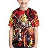 Camiseta de Anime para Niño T-Shirt con Estampado 3D Camiseta de Anime Genial Camiseta de Anime de Manga Corta para Jóvenes y