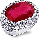 Gioielli di Valenza - Anello in Oro bianco 18k Con rubino e pavè di diamanti - ANN2712bbr