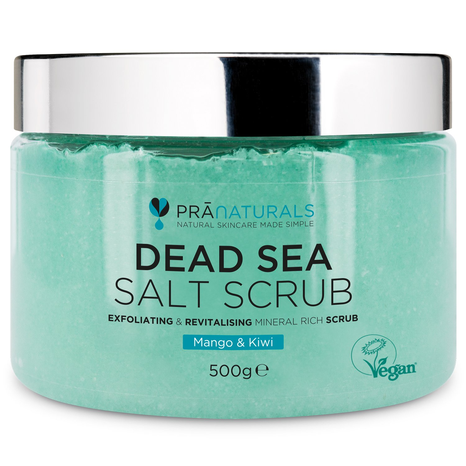 PraNaturals Revitalising Dead Sea Body Scrub 500g, 100% Organic Nourishing Skin Exfoliating Salt Scrub, Rich in Natural Minerals for All Skin Types, Blended with Mango & Kiwi Fruit Oils