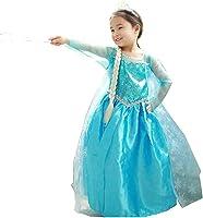 Vestito Principessa Bambina Dress Carnevale Costume Bimba childen Blu 808