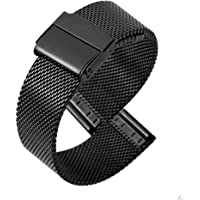 TGYY Bracelet de montre en maille tissée - Métal - Ultra fin - Universel - 12 mm - Noir