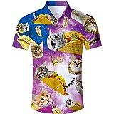 RAISEVERN Summer Mens Fancy Print Hawaiian Shirt Casual Short Sleeve T-Shirts Outfits for Holiday Wear Button Down Hawaii Alo